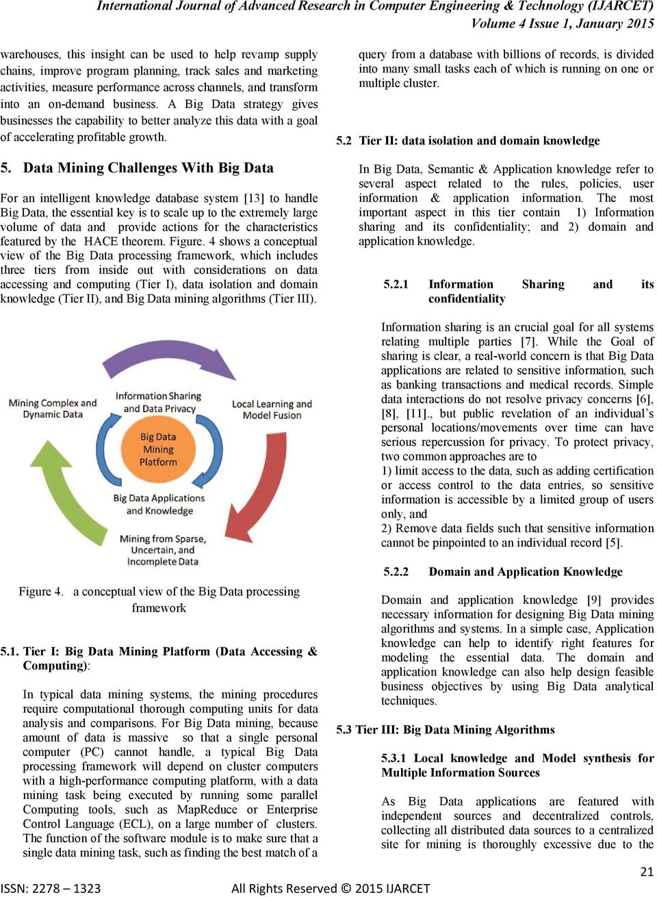 Data Mining Challenges With Big Data For an intelligent knowledge database system [13] to handle Big Data, the essential key is to scale up to the extremely large volume of data and provide actions