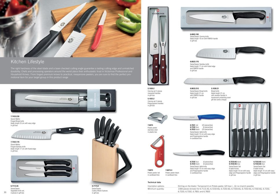 edge and unmatched durability. Chefs and processing operators around the world place their enthusiastic trust in Victorinox Professional and Household Knives.