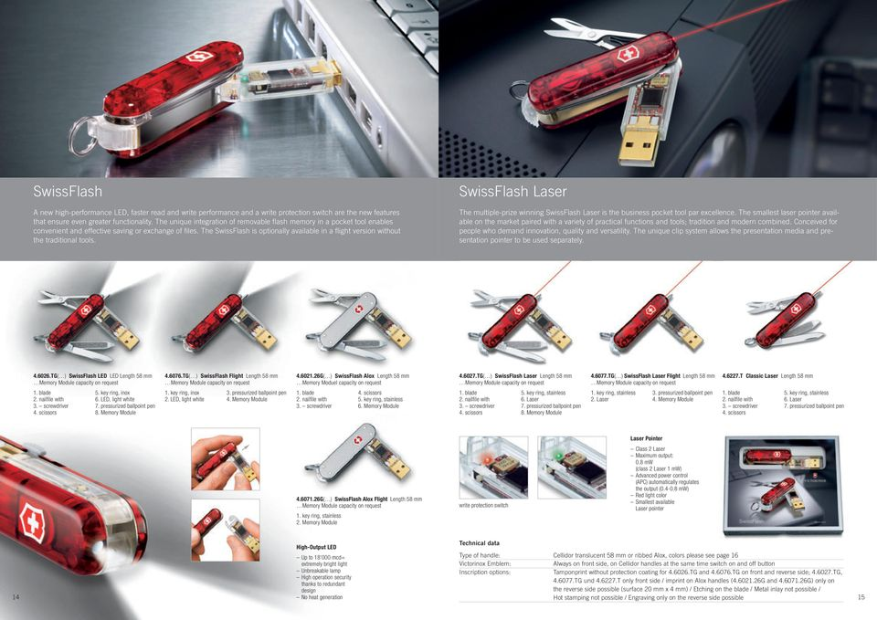 The SwissFlash is optionally available in a flight version without the traditional tools. SwissFlash Laser The multiple-prize winning SwissFlash Laser is the business pocket tool par excellence.
