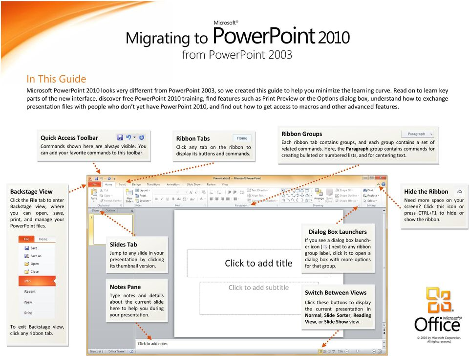 with people who don t yet have PowerPoint 2010, and find out how to get access to macros and other advanced features. Quick Access Toolbar Commands shown here are always visible.