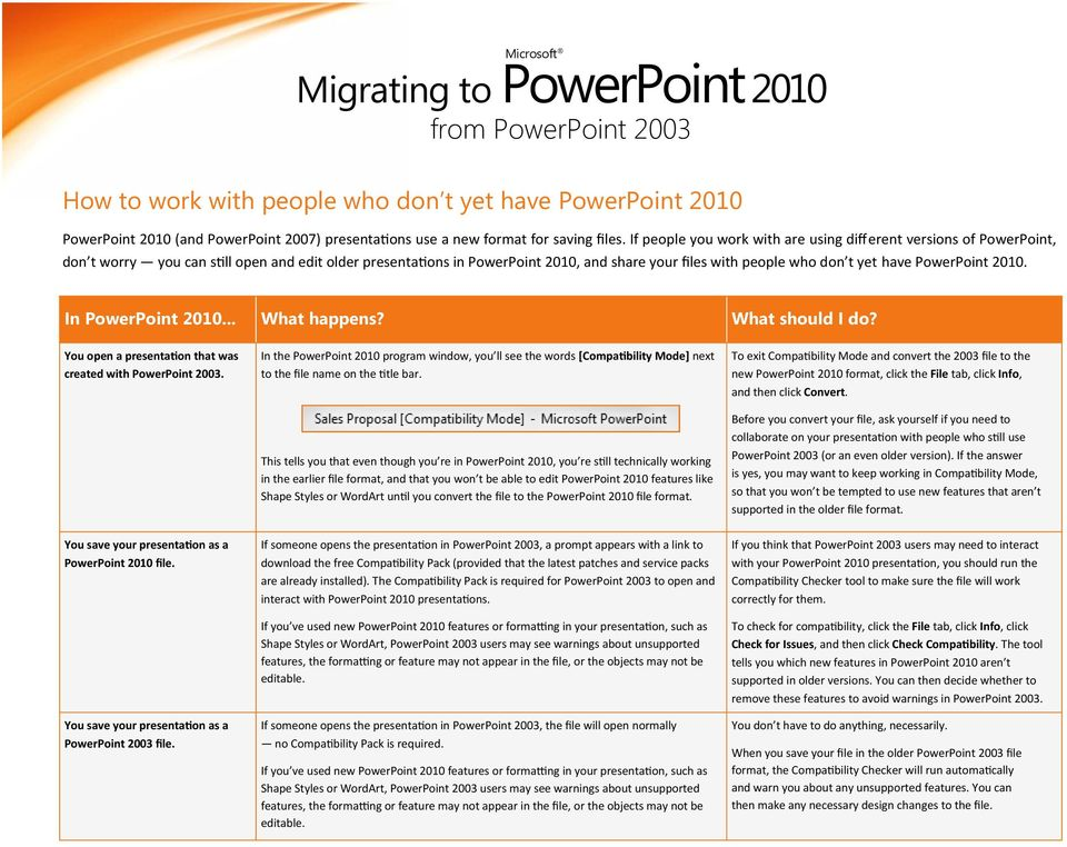 PowerPoint 2010. In PowerPoint 2010... What happens? What should I do? You open a presentation that was created with PowerPoint 2003.