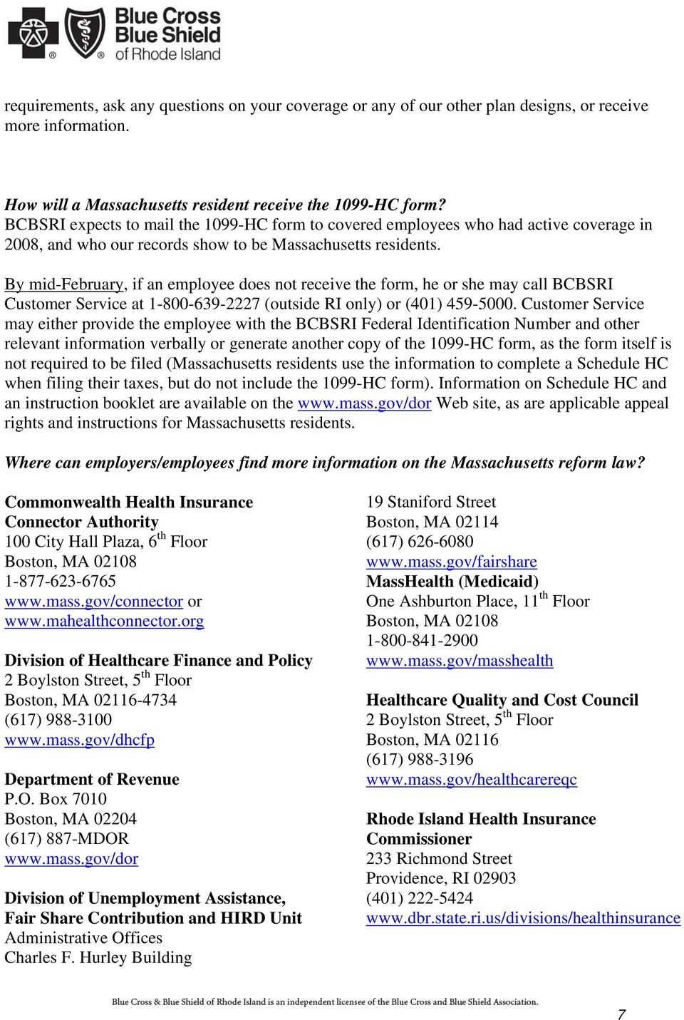 Massachusetts Health Care Reform Act Information For Brokers