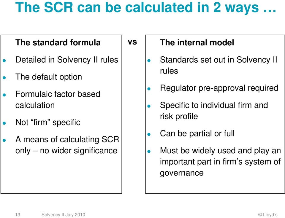 internal model Standards set out in Solvency II rules Regulator pre-approval required Specific to individual firm