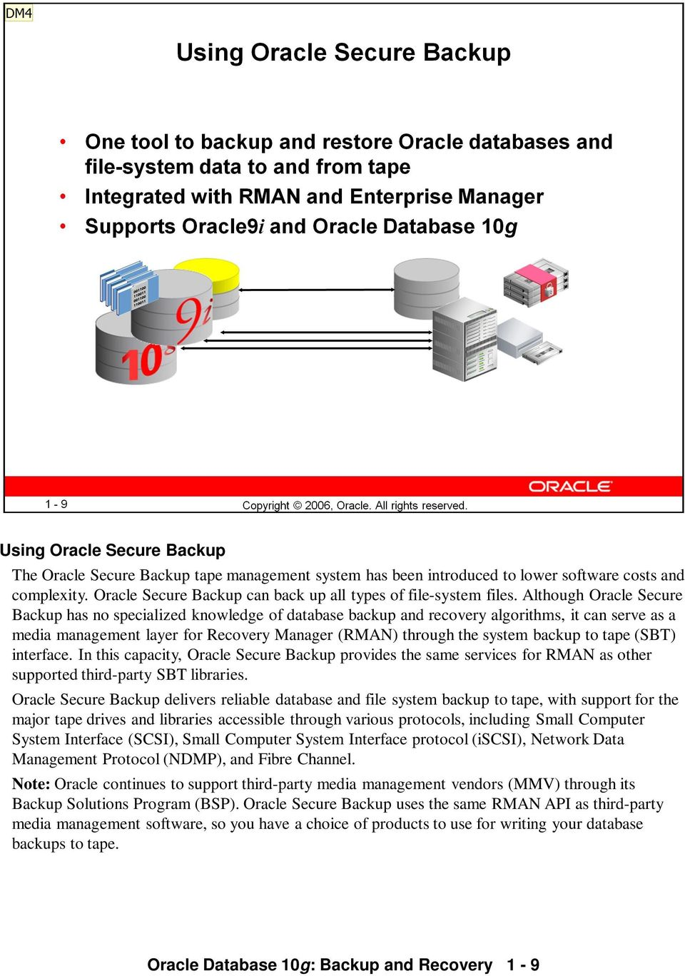 to tape (SBT) interface. In this capacity, Oracle Secure Backup provides the same services for RMAN as other supported third-party SBT libraries.