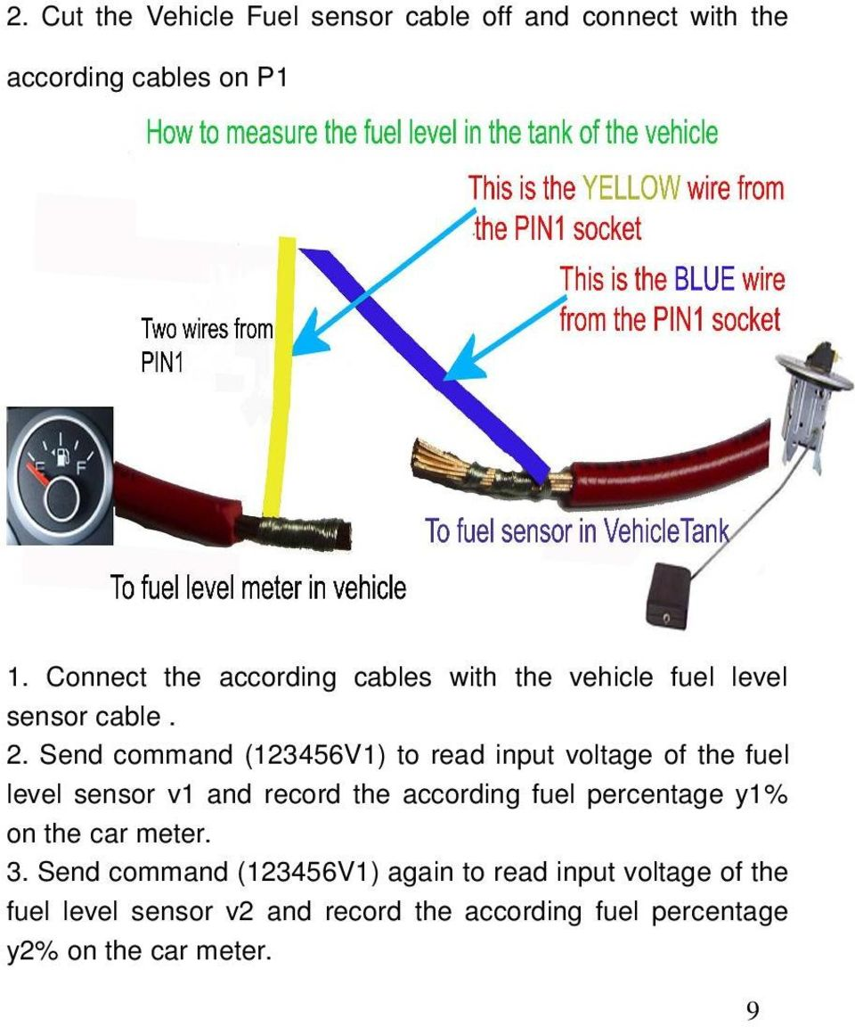 Send command (123456V1) to read input voltage of the fuel level sensor v1 and record the according fuel