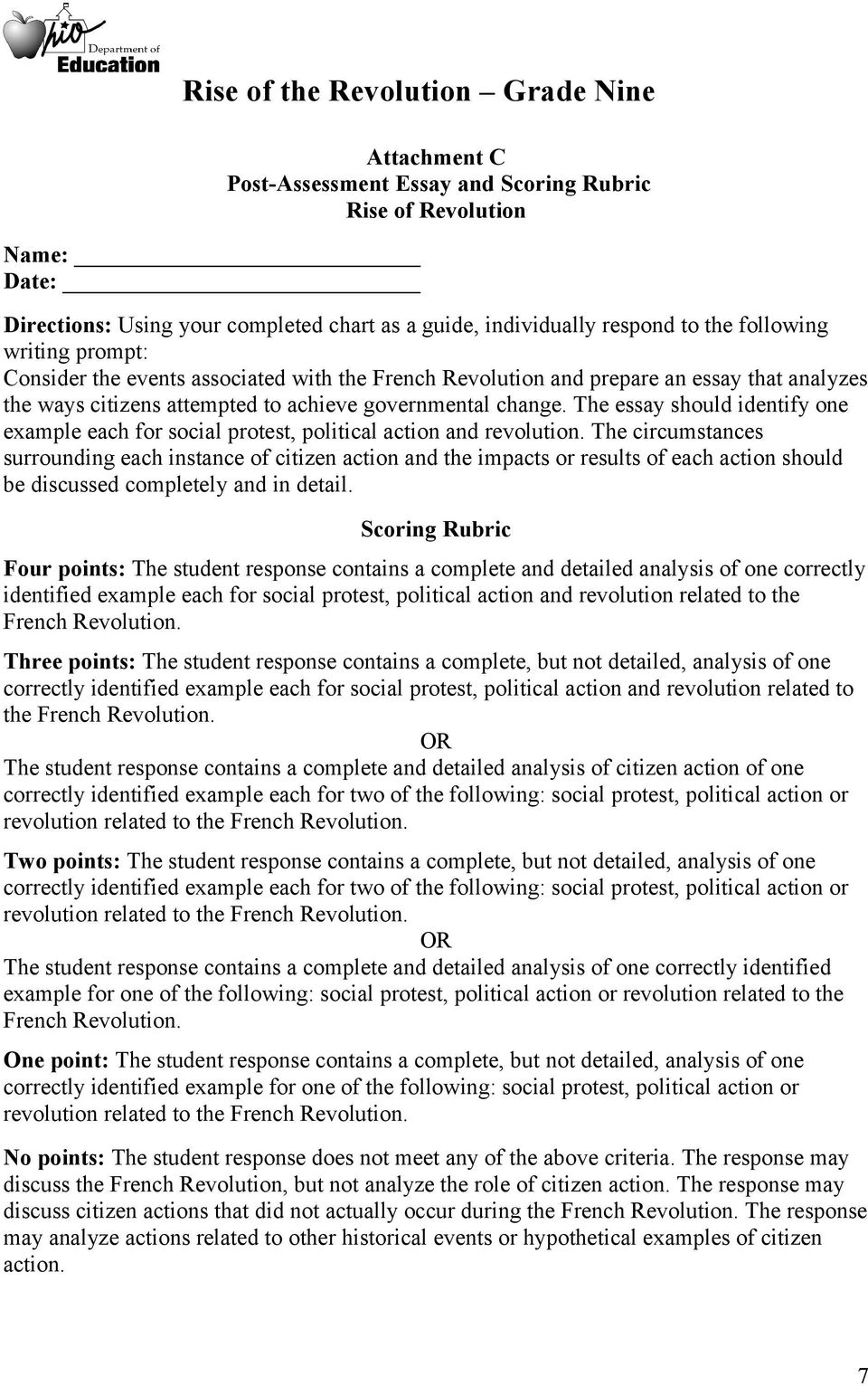 rise of the revolution grade nine pdf the essay should identify one example each for social protest political action and revolution