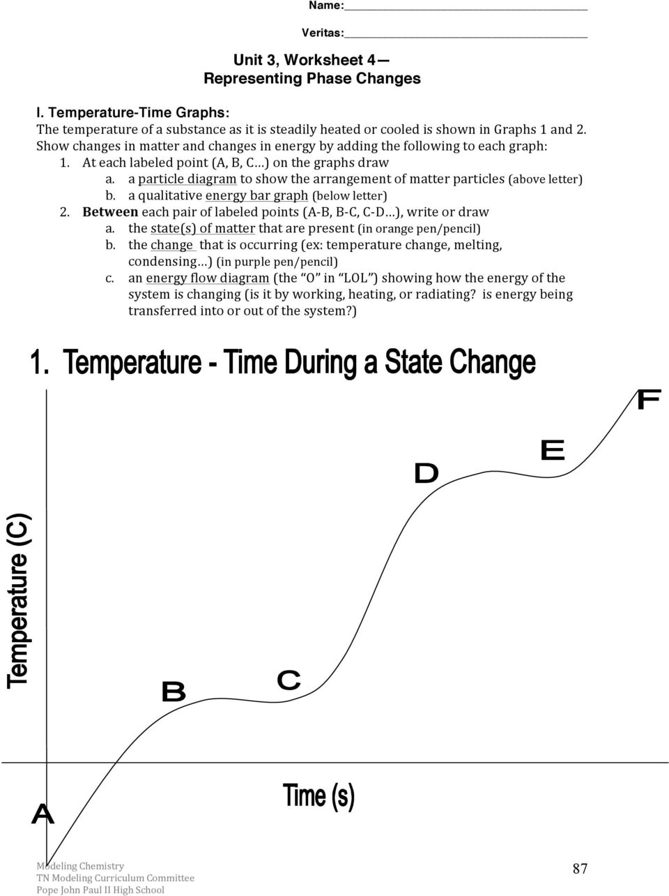 Chemistry Unit 3 Reading Assignment Energy and Kinetic Molecular – Matter and Change Worksheet