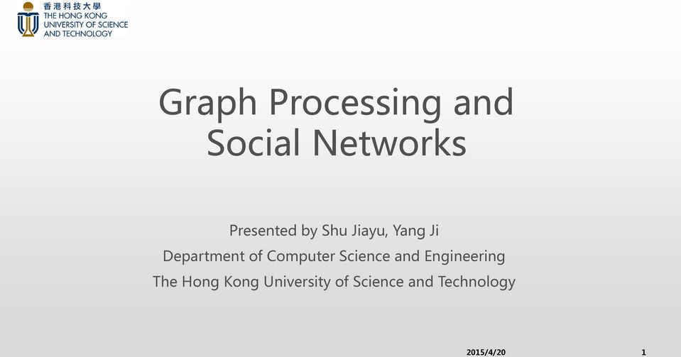 of Computer Science and Engineering The Hong