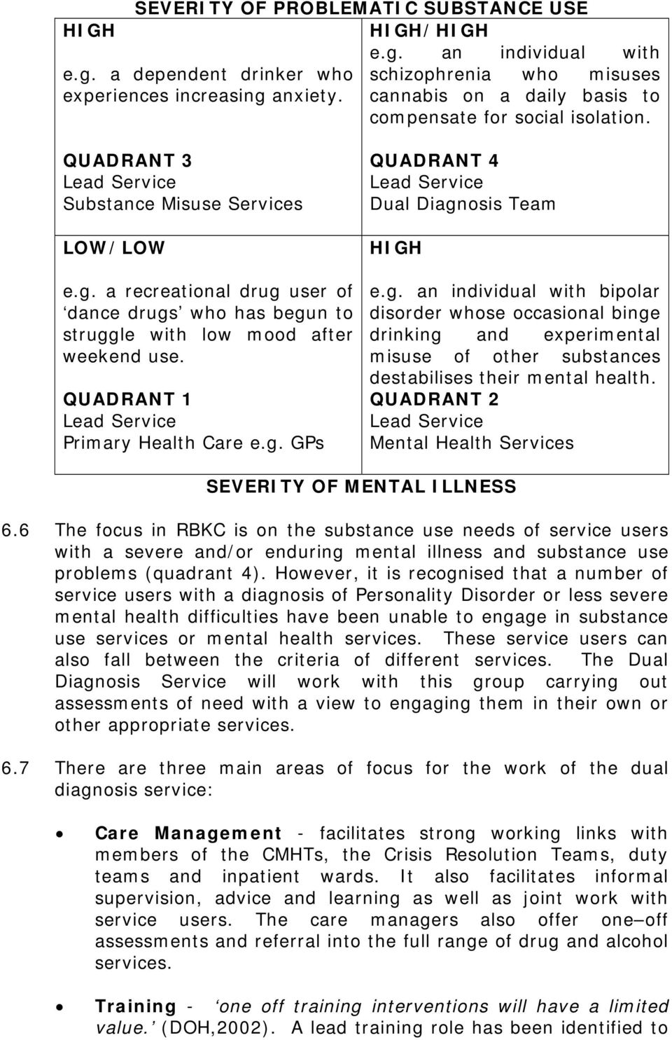 QUADRANT 1 Lead Service Primary Health Care e.g. GPs QUADRANT 4 Lead Service Dual Diagnosis Team HIGH e.g. an individual with bipolar disorder whose occasional binge drinking and experimental misuse of other substances destabilises their mental health.