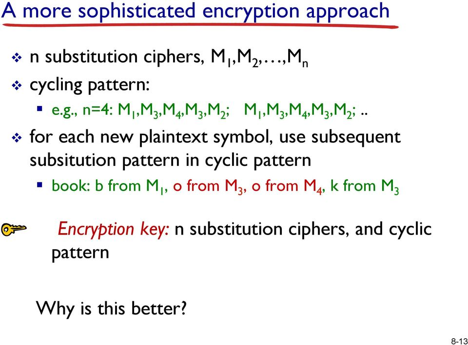 . v for each new plaintext symbol, use subsequent subsitution pattern in cyclic pattern book: