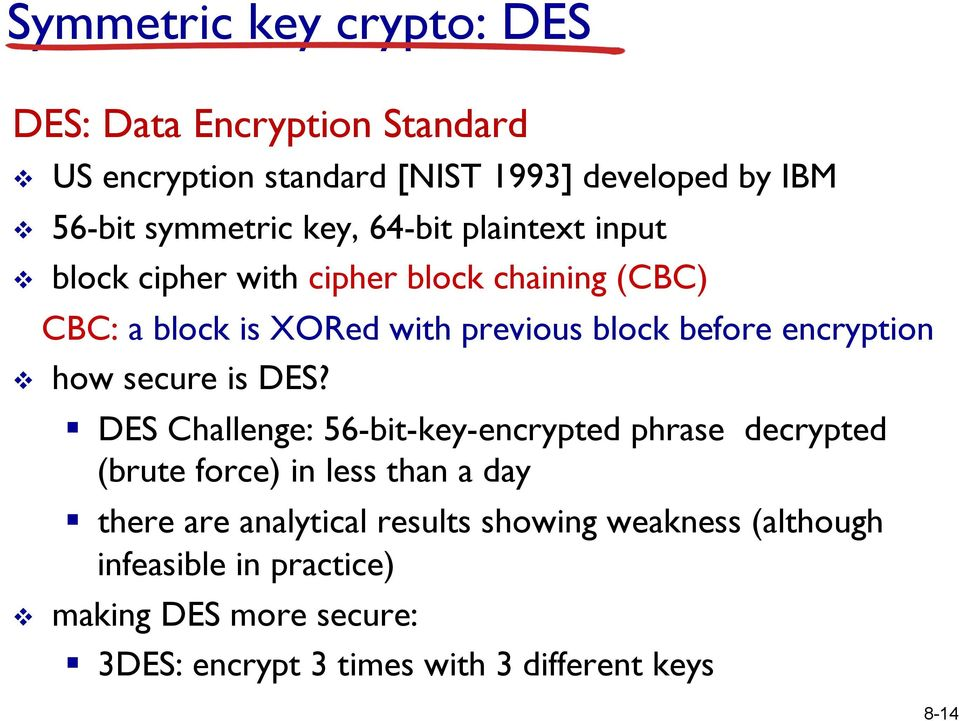 encryption v how secure is DES?