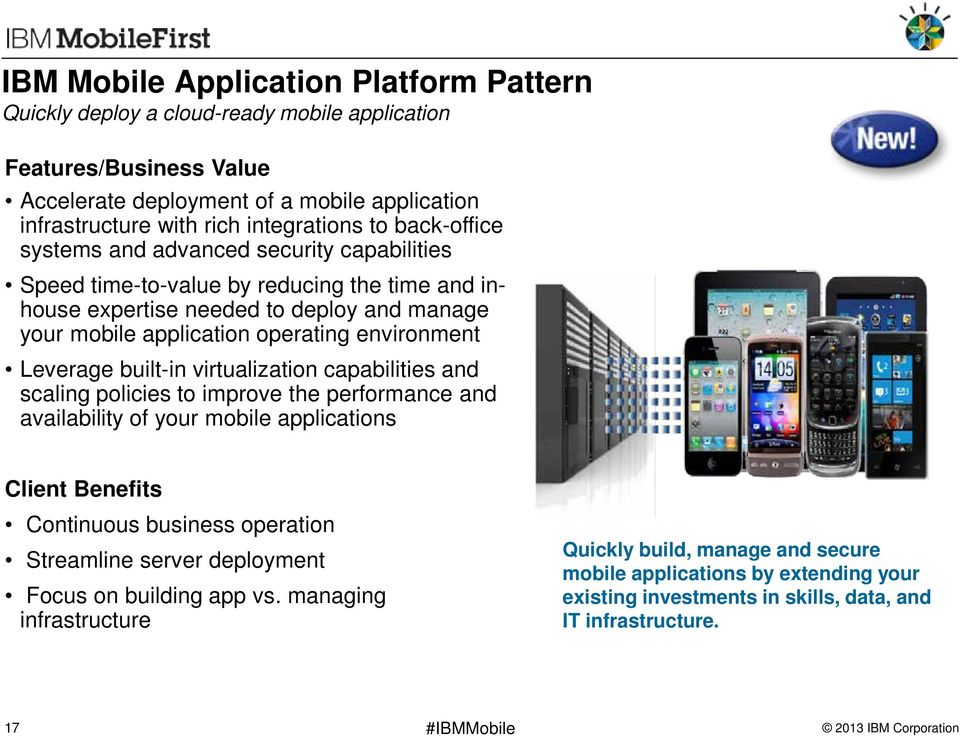 Leverage built-in virtualization capabilities and scaling policies to improve the performance and availability of your mobile applications Client Benefits Continuous business operation Streamline