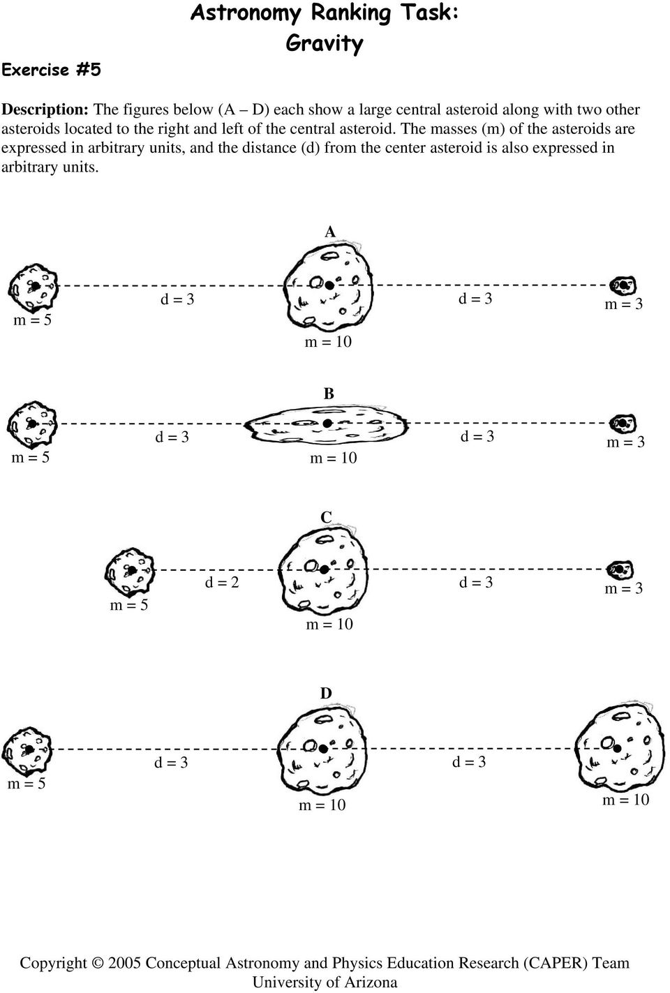 The masses (m) of the asteroids are expressed in arbitrary units, and the distance (d) from the