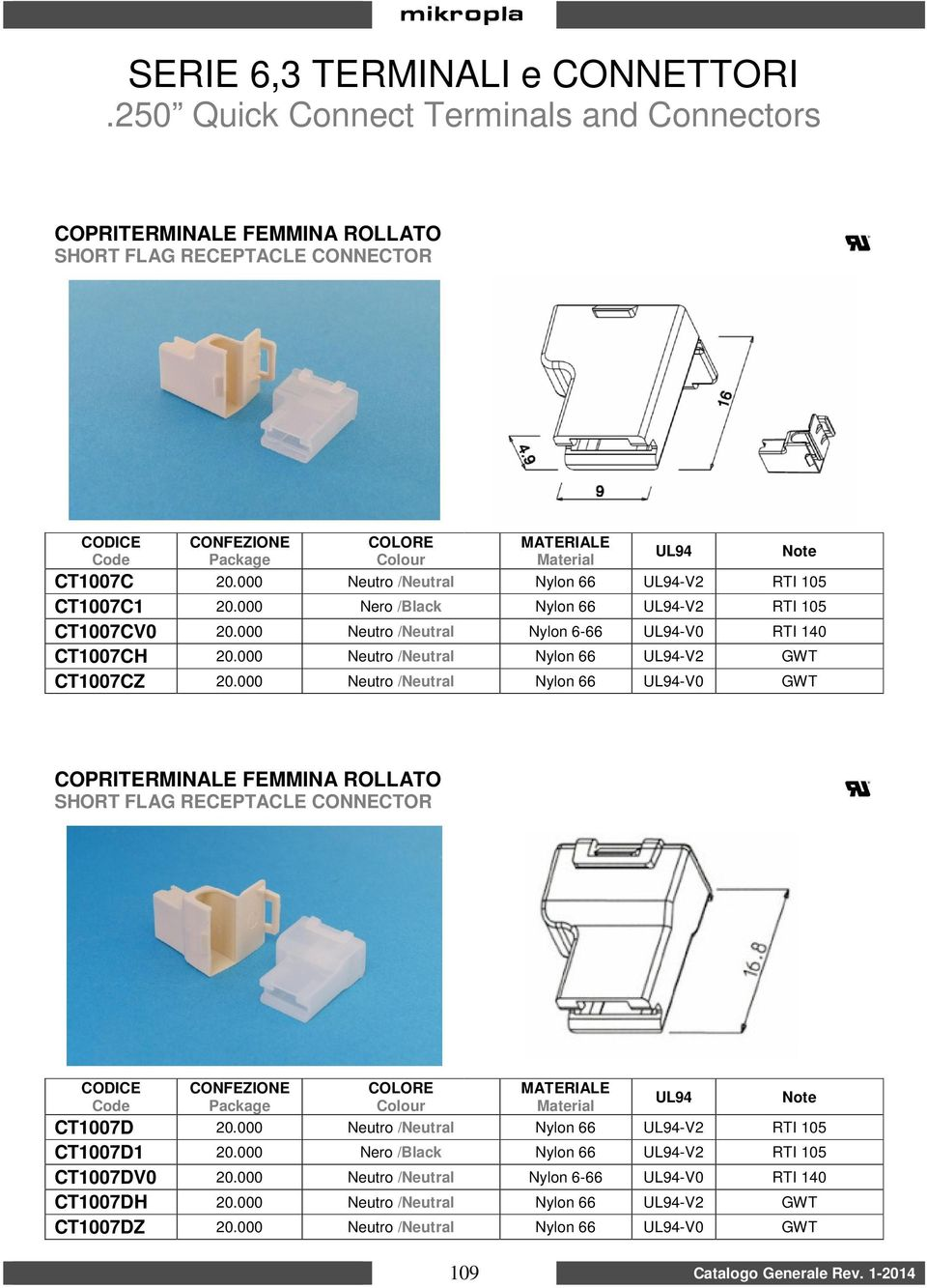 000 Neutro /Neutral Nylon 66 -V0 GWT COPRITERMINALE FEMMINA ROLLATO SHORT FLAG RECEPTACLE CONNECTOR CT1007D 20.000 Neutro /Neutral Nylon 66 -V2 RTI 105 CT1007D1 20.