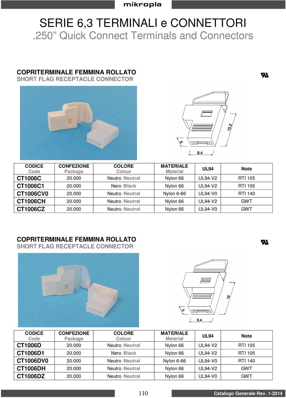 000 Neutro /Neutral Nylon 66 -V0 GWT COPRITERMINALE FEMMINA ROLLATO SHORT FLAG RECEPTACLE CONNECTOR CT1006D 20.000 Neutro /Neutral Nylon 66 -V2 RTI 105 CT1006D1 20.