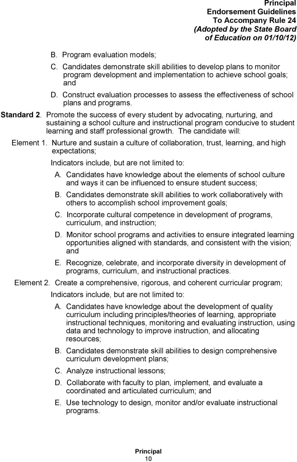 Construct evaluation processes to assess the effectiveness of school plans and programs. Standard 2.