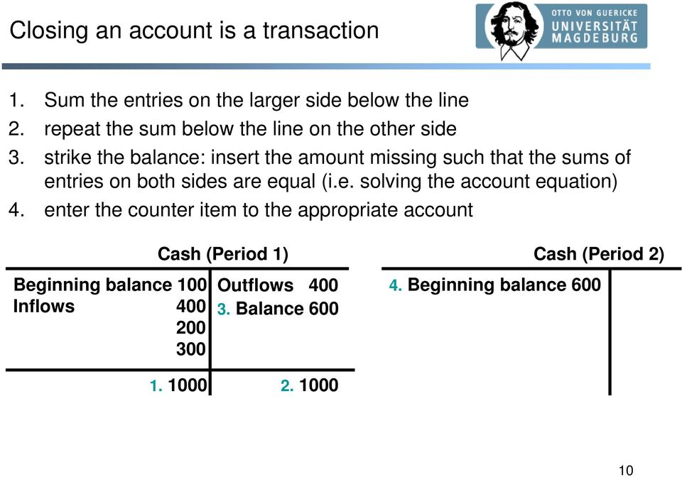 strike the balance: insert the amount missing such that the sums of entries on both sides are equal (i.e. solving the account equation) 4.
