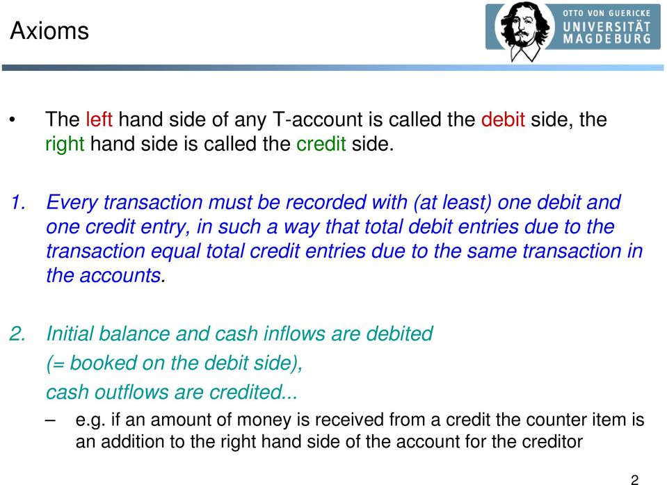 equal total credit entries due to the same transaction in the accounts. 2.