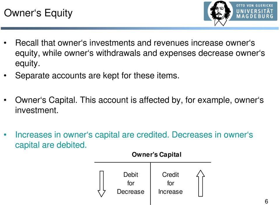 Owner s Capital. This account is affected by, for example, owner s investment.