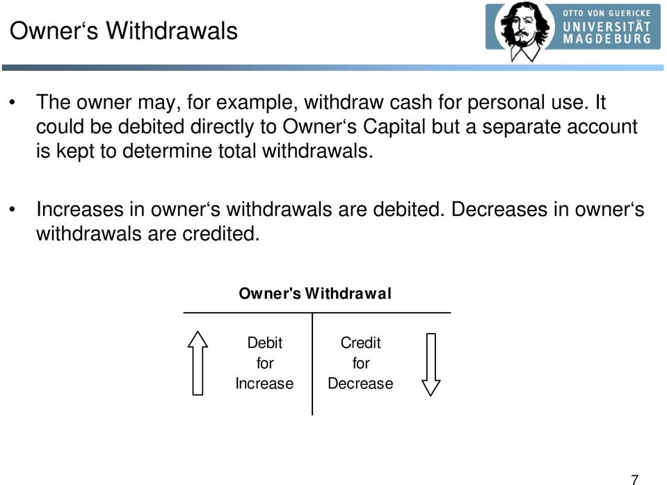 determine total withdrawals. Increases in owner s withdrawals are debited.