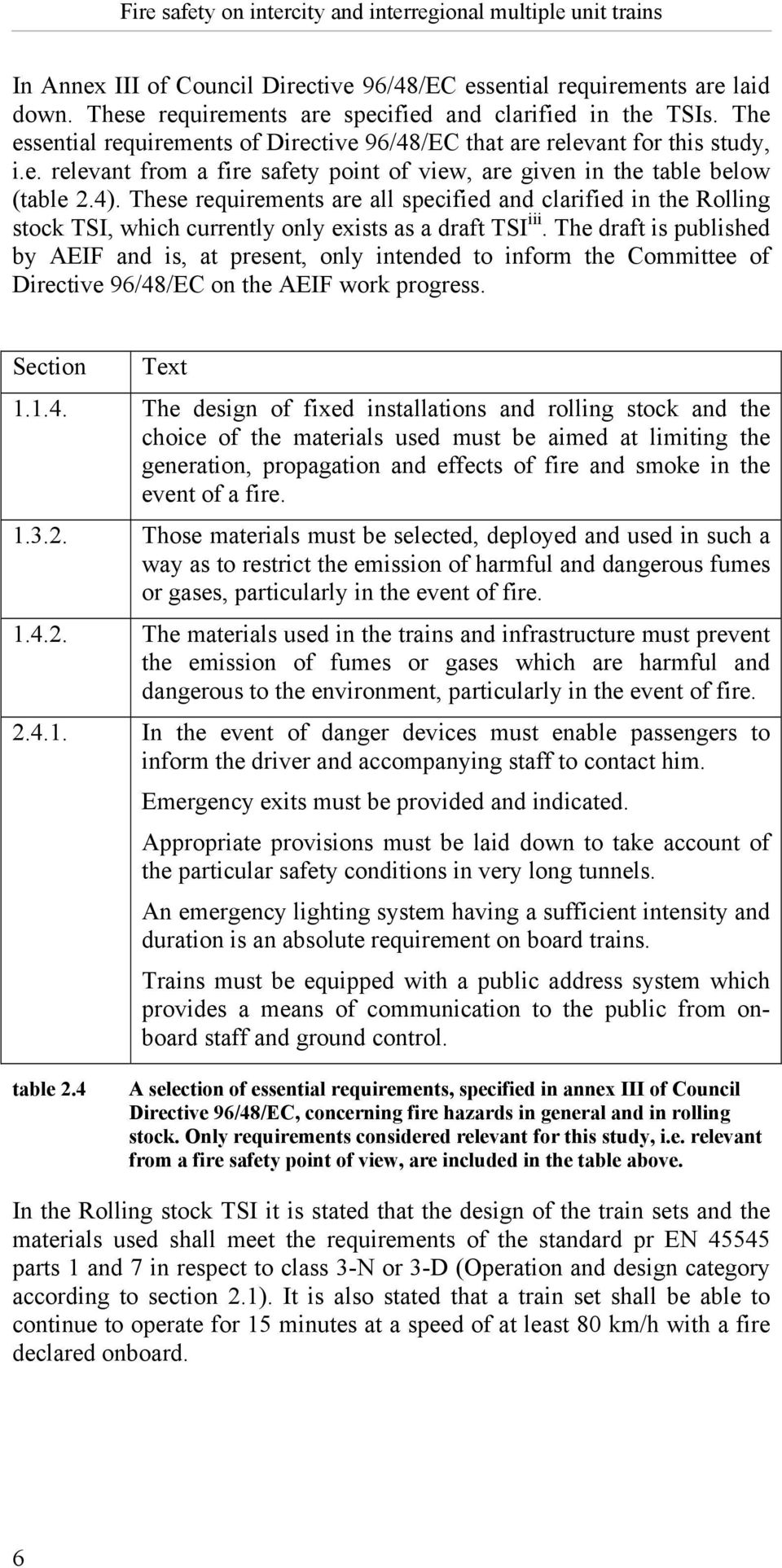 These requirements are all specified and clarified in the Rolling stock TSI, which currently only exists as a draft TSI iii.