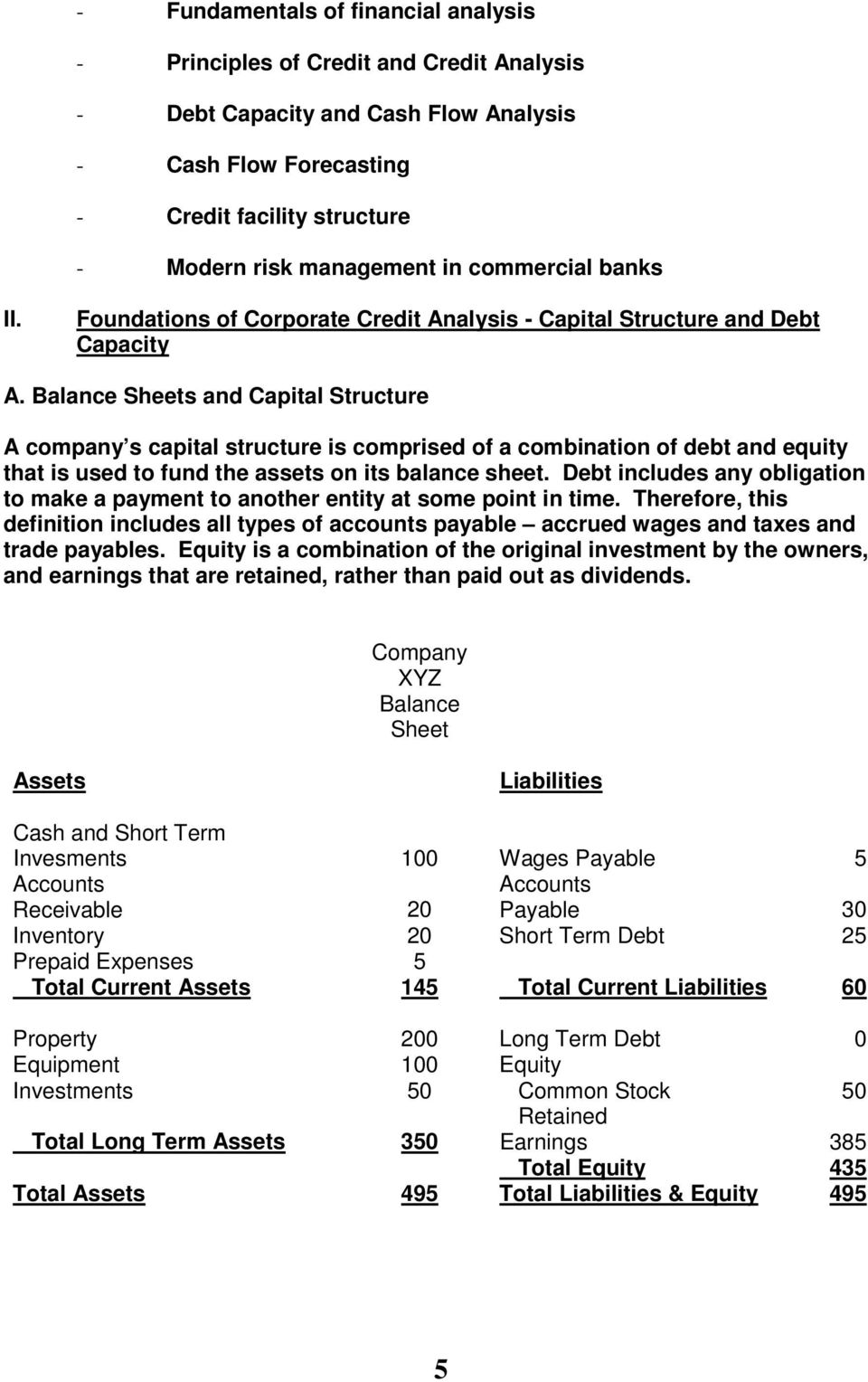 Balance Sheets and Capital Structure A company s capital structure is comprised of a combination of debt and equity that is used to fund the assets on its balance sheet.