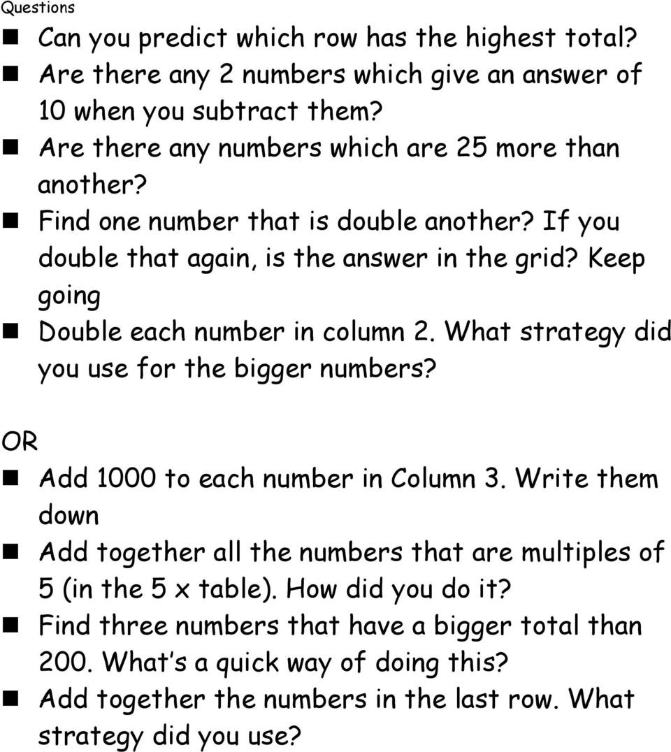 Keep going Double each number in column 2. What strategy did you use for the bigger numbers? OR Add 1000 to each number in Column 3.