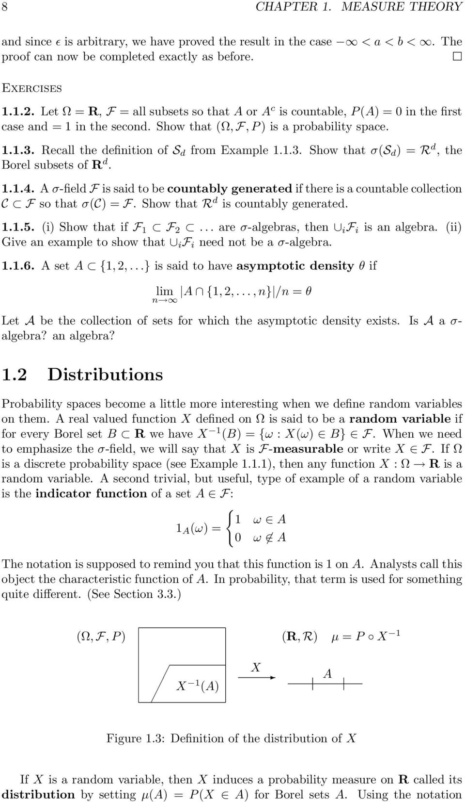 Recall the definition of S d from Example 1.1.3. Show that σ(s d ) = R d, the Borel subsets of R d. 1.1.4.