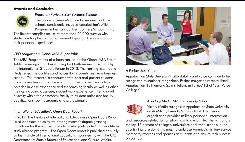 CEO Magazine's Global MBA Super Table The MBA Program has also been ranked on the Global MBA Super Table, receiving a Top Tier ranking for North American schools by the International Graduate Forum