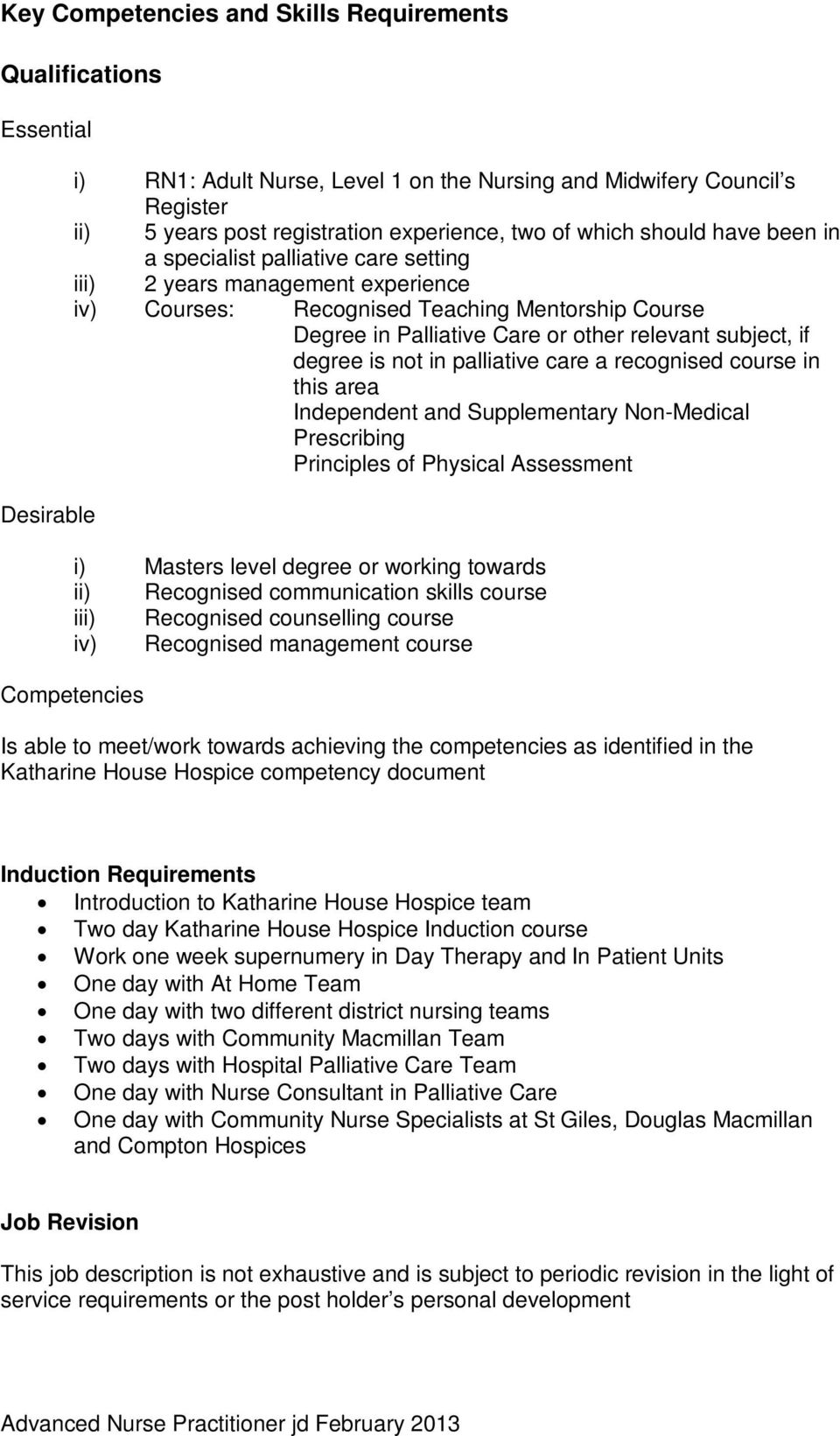 not in palliative care a recognised course in this area Independent and Supplementary Non-Medical Prescribing Principles of Physical Assessment i) Masters level degree or working towards ii)