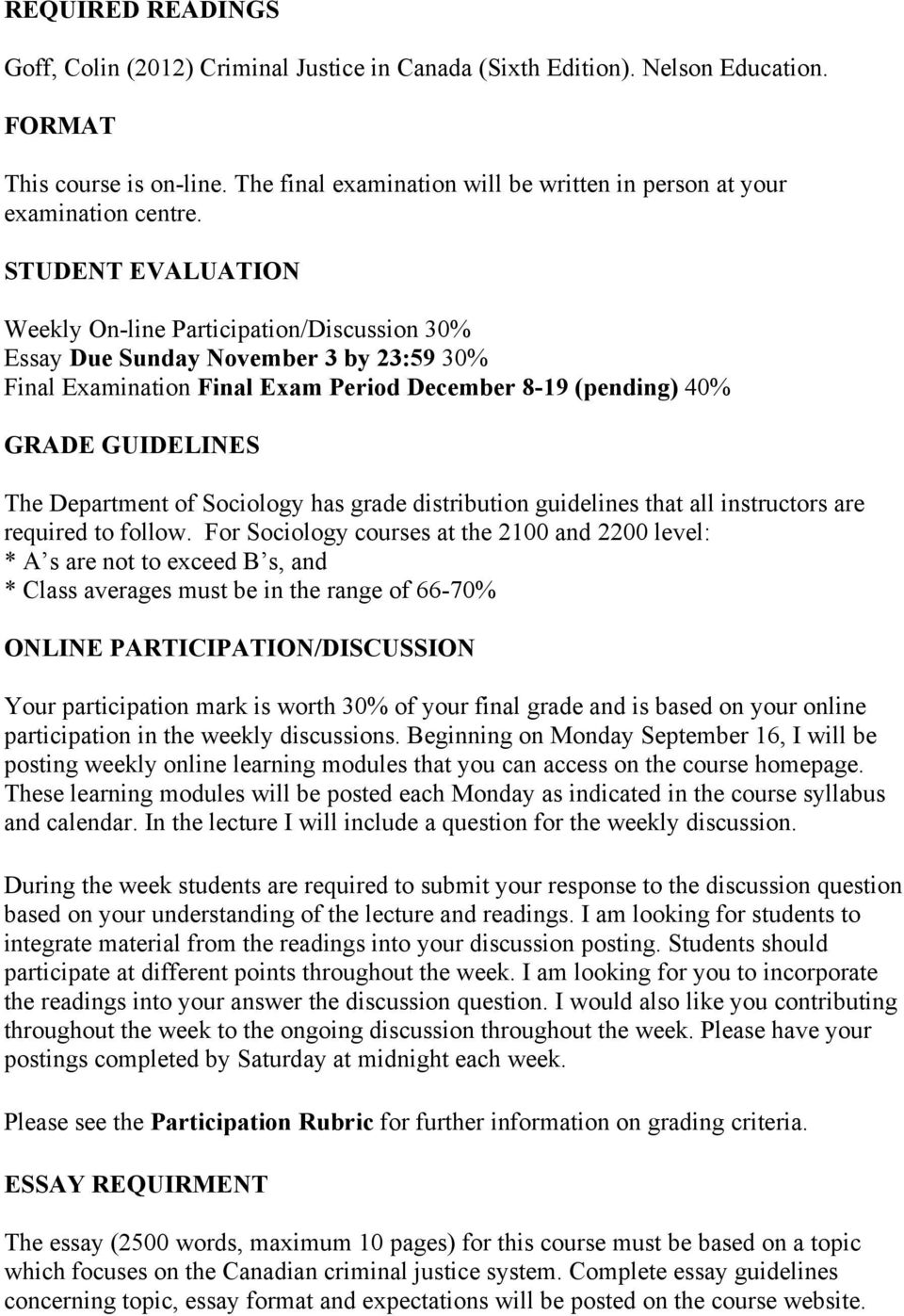 STUDENT EVALUATION Weekly On-line Participation/Discussion 30% Essay Due Sunday November 3 by 23:59 30% Final Examination Final Exam Period December 8-19 (pending) 40% GRADE GUIDELINES The Department