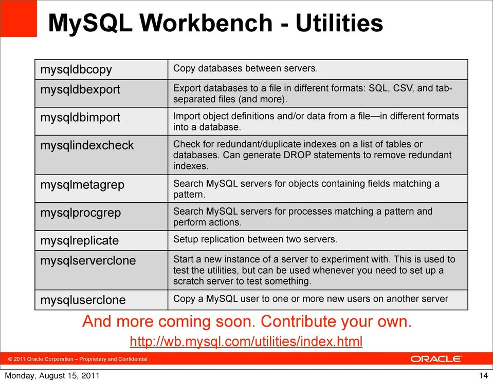 Check for redundant/duplicate indexes on a list of tables or databases. Can generate DROP statements to remove redundant indexes. Search MySQL servers for objects containing fields matching a pattern.