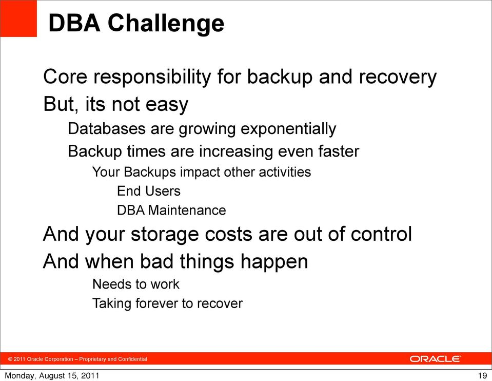 Backups impact other activities End Users DBA Maintenance And your storage costs