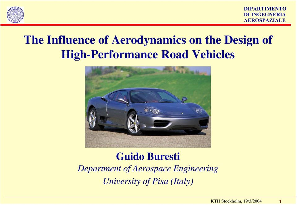 Vehicles Guido Buresti Department of