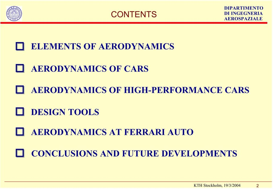 HIGH-PERFORMANCE CARS DESIGN TOOLS