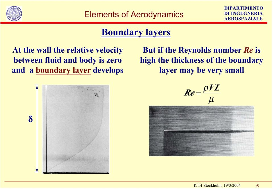 boundary layer develops But if the Reynolds number Re is