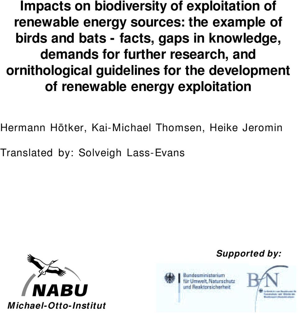 guidelines for the development of renewable energy exploitation Hermann Hötker,