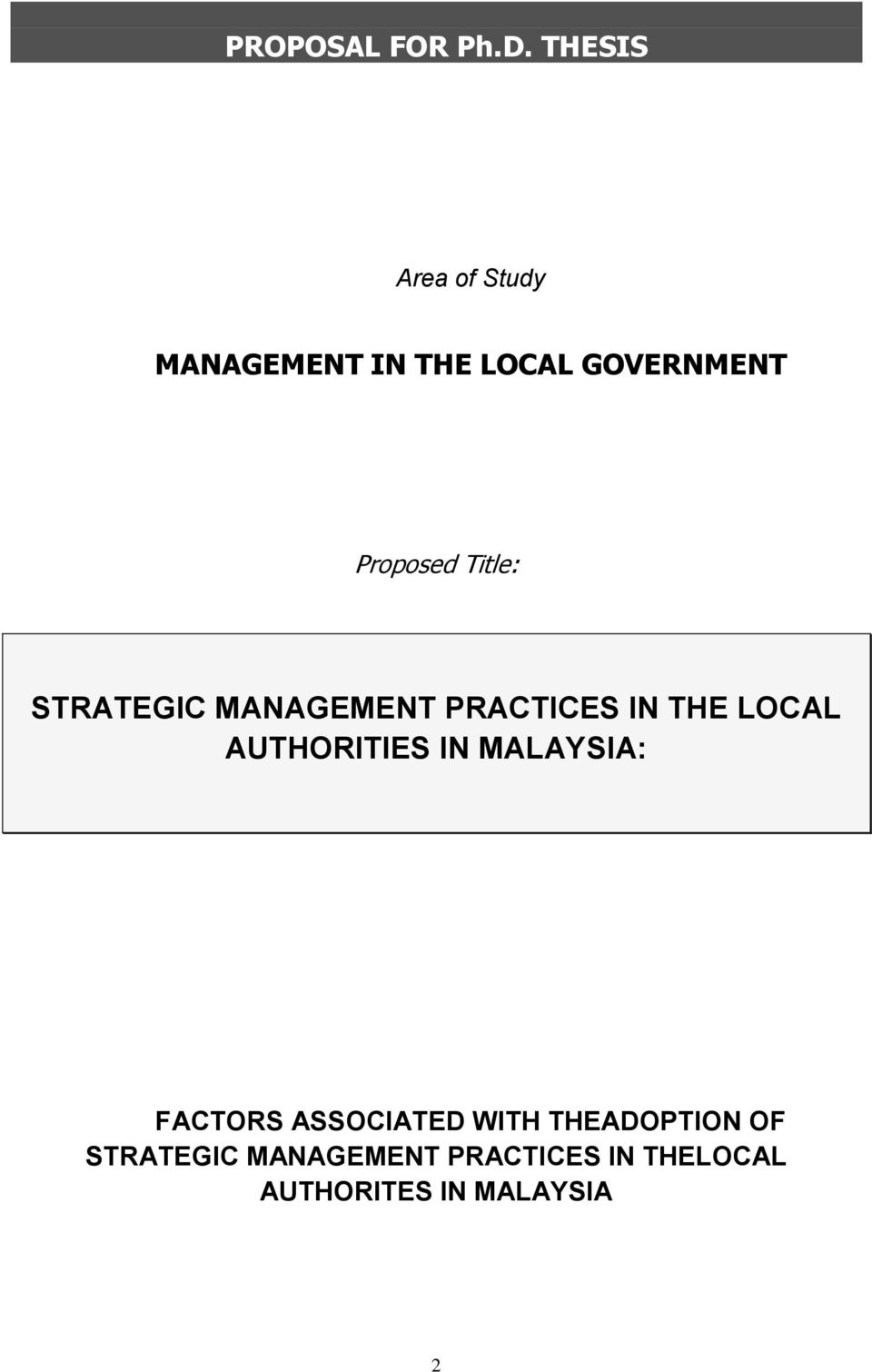Title: STRATEGIC MANAGEMENT PRACTICES IN THE LOCAL AUTHORITIES IN