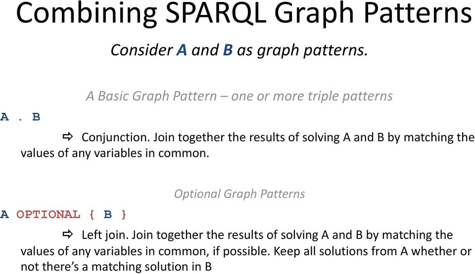 A OPTIONAL { B Optional Graph Patterns Left join.