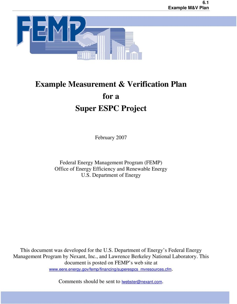 , and Lawrence Berkeley National Laboratory. This document is posted on FEMP s web site at www.eere.energy.
