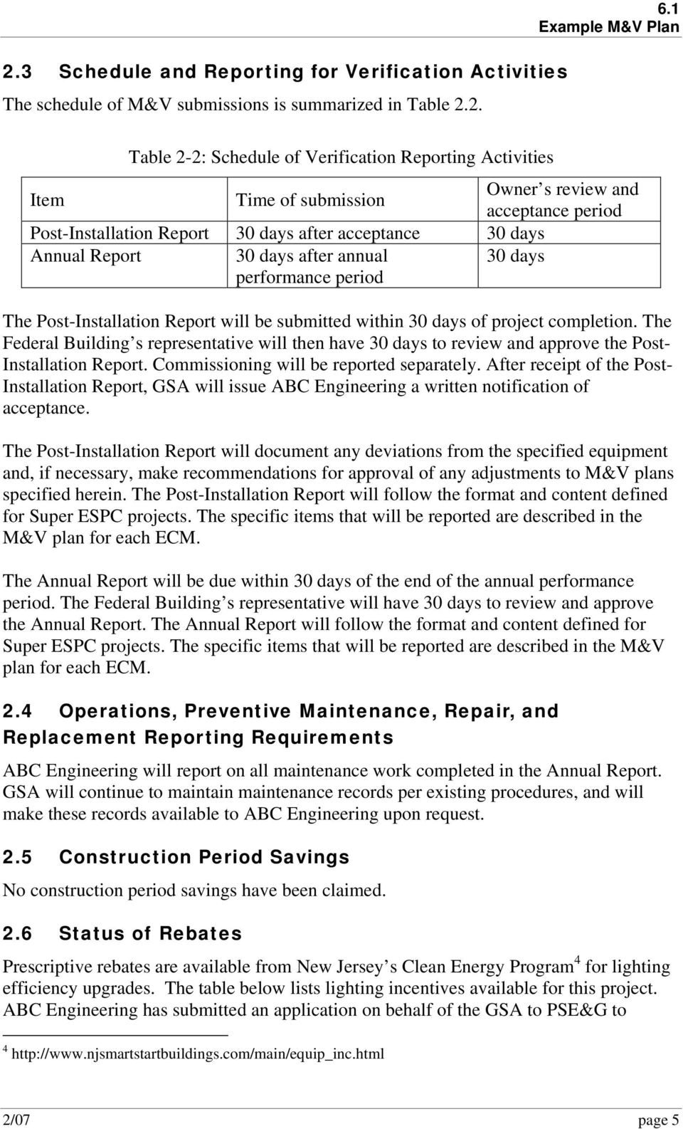 Post-Installation Report will be submitted within 30 days of project completion. The Federal Building s representative will then have 30 days to review and approve the Post- Installation Report.
