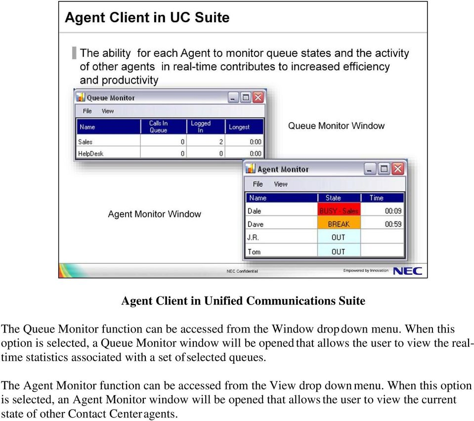 associated with a set of selected queues. The Agent Monitor function can be accessed from the View drop down menu.