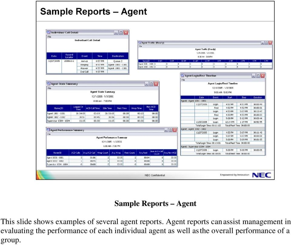 Agent reports can assist management in evaluating