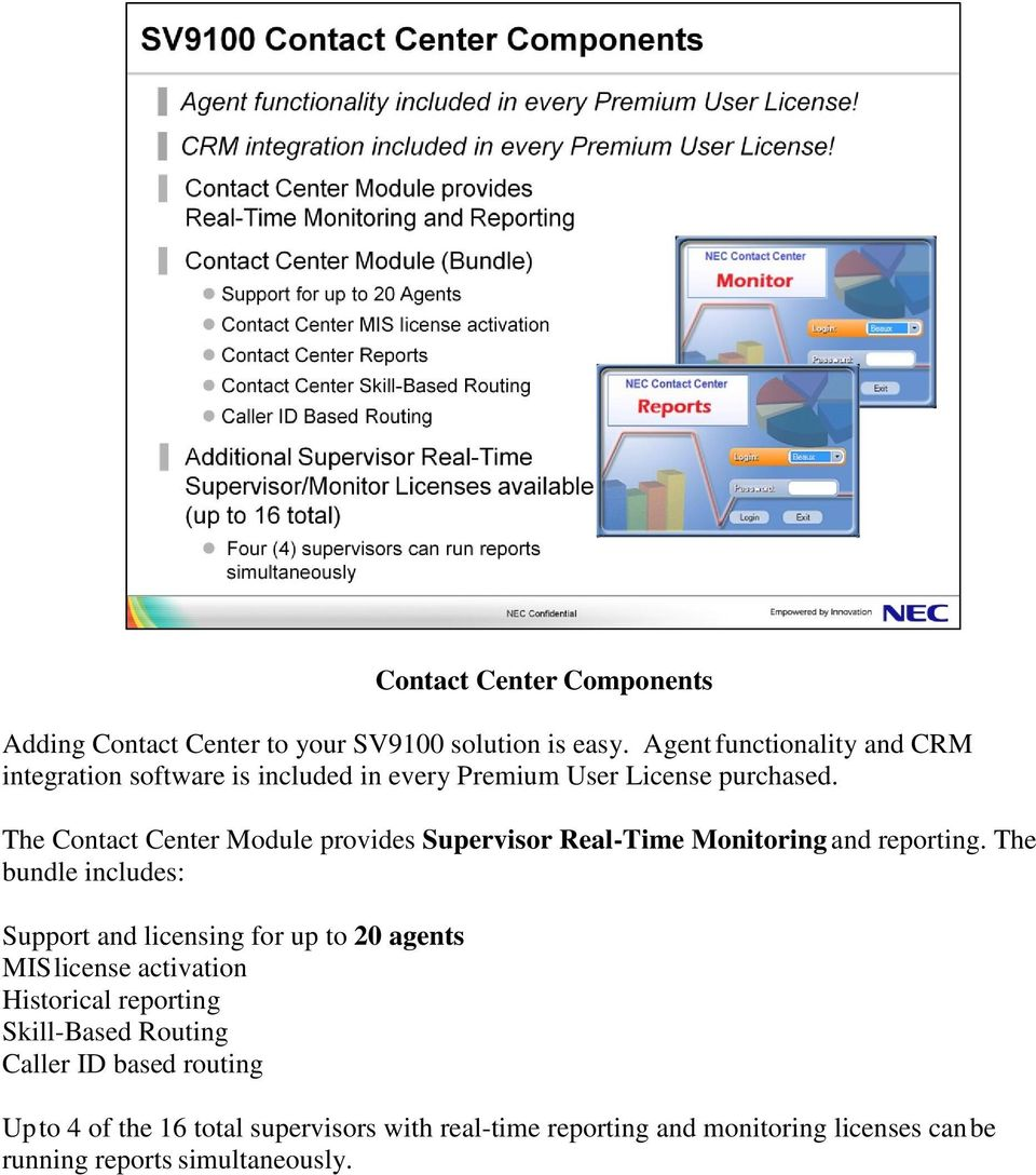The Contact Center Module provides Supervisor Real-Time Monitoring and reporting.