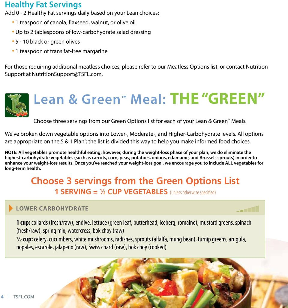 NutritionSupport@TSFL.com. Lean & Green Meal: THE GREEN Choose three servings from our Green Options list for each of your Lean & Green Meals.