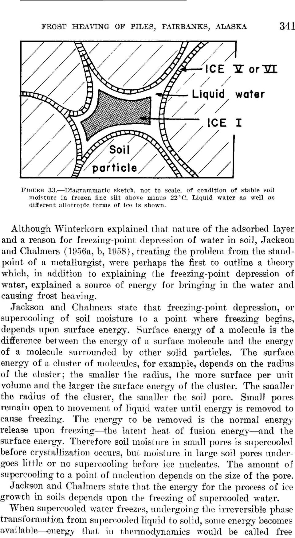 Although Winterkorn explained that nature of the adsorbed layer and a reason for freezing-point depression of water in soil, Jackson and Chalmers (1956a, b, 1958), treating the problem from the