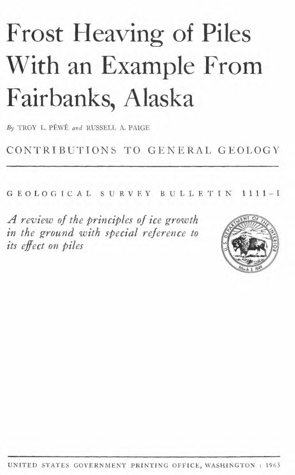 PAIGE CONTRIBUTIONS TO GENERAL GEOLOGY GEOLOGICAL SURVEY BULLETIN 1111-1 A review