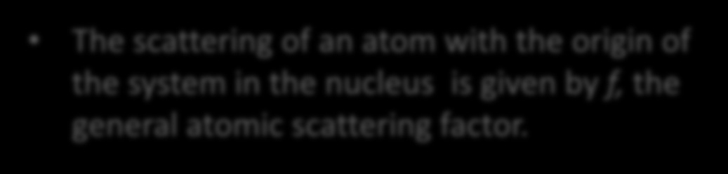 Scattering by an Atom The electron cloud of an atom is what scatters an X- ray beam; This scattering is dependent on the number of electrons and their positions in the cloud.