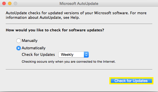 Step 3. Click on the Check for Updates button in the bottom right corner and install any updates that are available.
