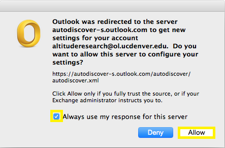 Step 7. Once Outlook is able to communicate with the Exchange servers you will get a pop-up window indicating that Outlook was redirected to the server autodiscovers.outlook.com. You will need to check the box Always use my response for this server and click the Allow button.